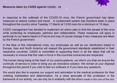 Measures taken by CASIS against COVID-19